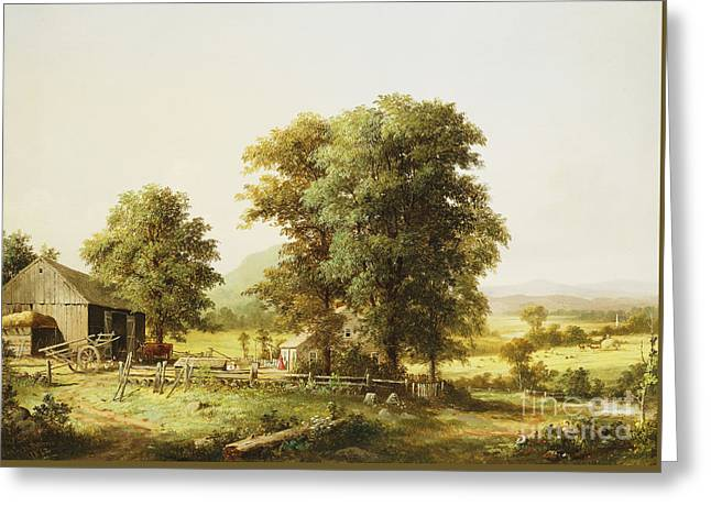 Summer Farm Scene Greeting Card by George Durrie