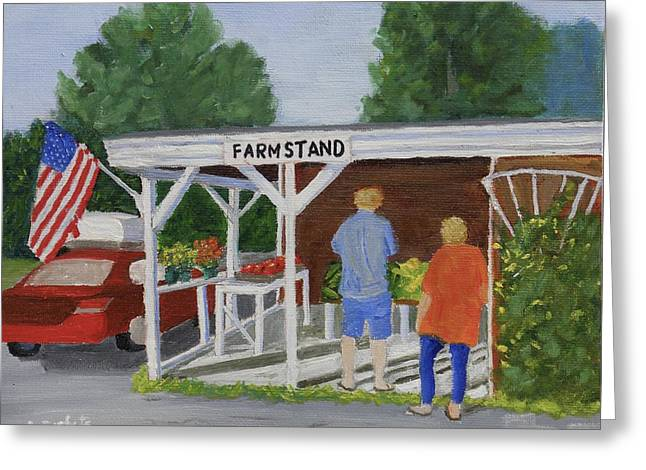 Farm Stand Paintings Greeting Cards - Summer Farm Stand Greeting Card by Scott W White