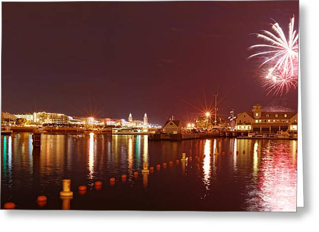 Summer Fireworks At The Navy Pier - Lake Michigan Chicago Illinois Greeting Card by Silvio Ligutti
