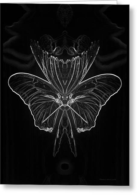 Floral Digital Art Greeting Cards - Summer Floral With Butterfly Mirror Image BW Vertical Greeting Card by Thomas Woolworth