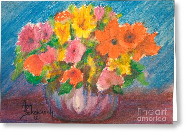 Sokolovich Paintings Greeting Cards - Summer Flowers Greeting Card by Ann Sokolovich