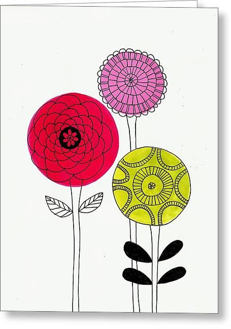 Lisa Noneman Mixed Media Greeting Cards - Summer Flowers Greeting Card by Lisa Noneman