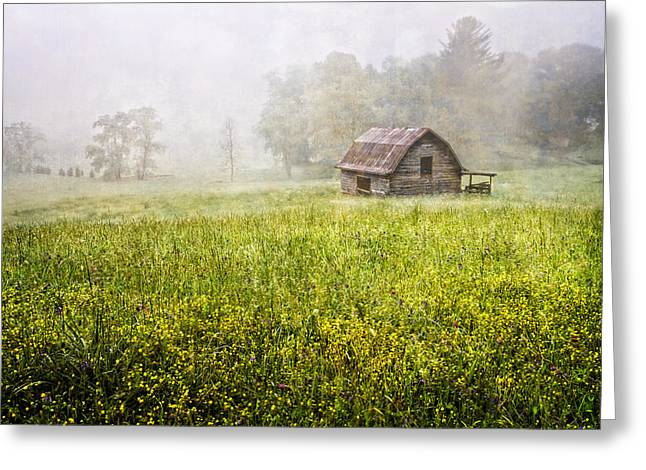 Red Roofed Barn Greeting Cards - Summer Fog Greeting Card by Debra and Dave Vanderlaan