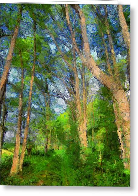 Green Foliage Mixed Media Greeting Cards - Summer Forest Painting Greeting Card by Dan Sproul