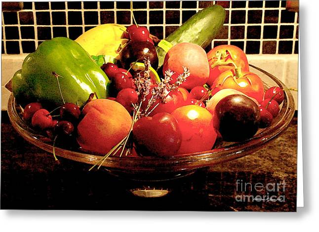 Summer Fruit And Veggies Still Life -- Another Fresh Paintograph Greeting Card by Christine S Zipps