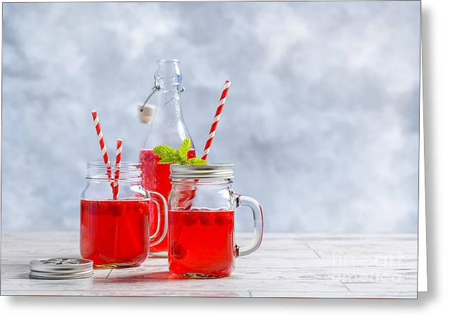 Raspberries Greeting Cards - Summer Fruit Drinks Greeting Card by Amanda And Christopher Elwell