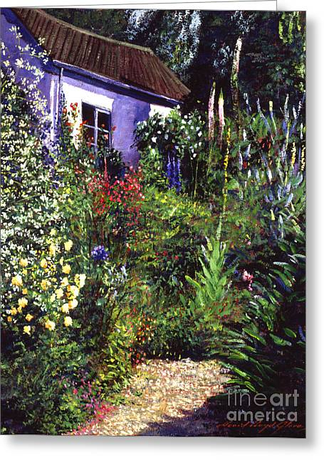 Shed Paintings Greeting Cards - Summer Garden Greeting Card by David Lloyd Glover