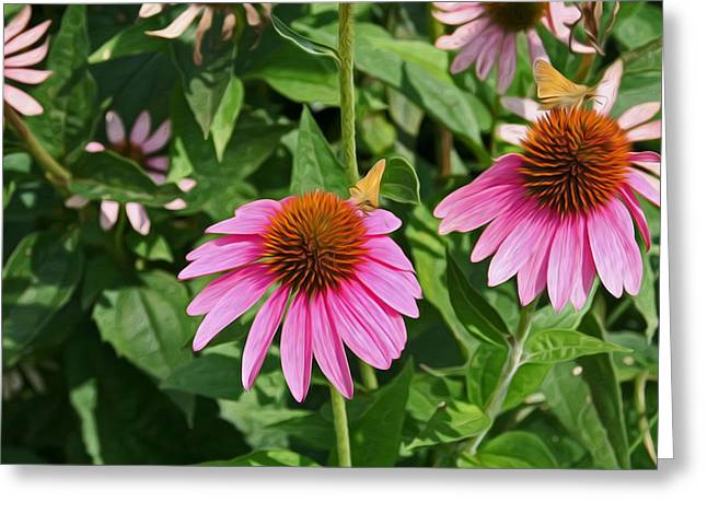 Enhanced Greeting Cards - Summer garden Greeting Card by LeeAnn White