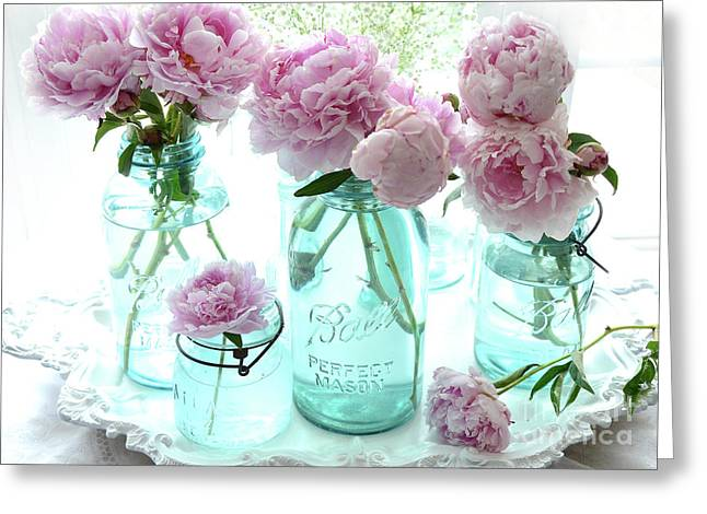 Romantic Garden Peonies In Blue Aqua Mason Ball Jars - Cottage Shabby Chic Peonies Print Decor  Greeting Card by Kathy Fornal