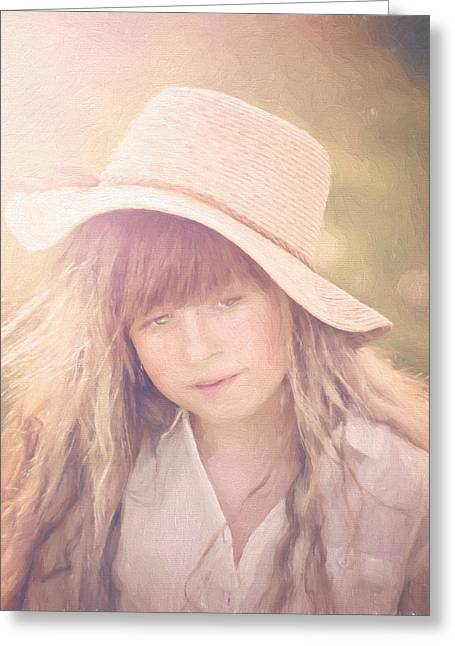 Cindy Grundsten Greeting Cards - Summer Girl Greeting Card by Cindy Grundsten