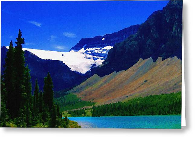 Slide Prints Digital Greeting Cards - Summer Glacier Over Mountain Lake Greeting Card by Greg Hammond