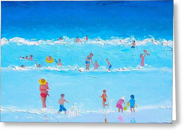 Children At Beach Greeting Cards - Summer holiday at the seaside Greeting Card by Jan Matson