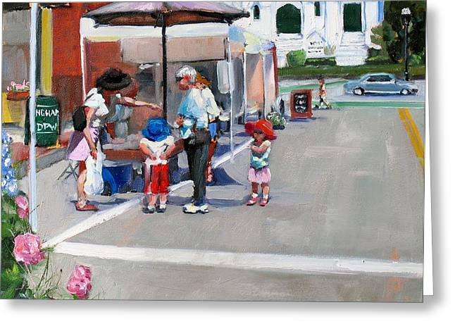 Church Street Greeting Cards - Summer in Hingham Greeting Card by Laura Lee Zanghetti