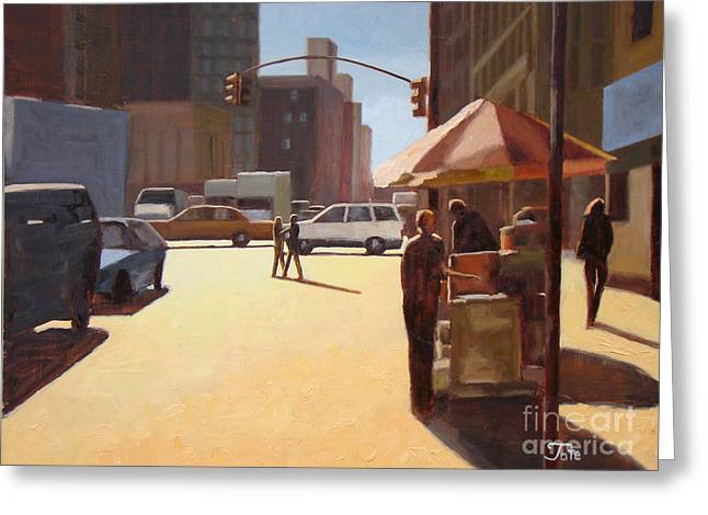 People Paintings Greeting Cards - Summer in Manhattan 3 Greeting Card by Tate Hamilton
