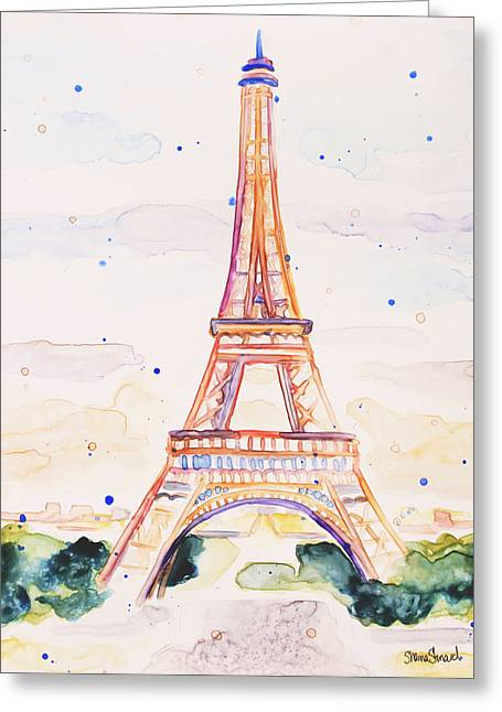 Yupo Paper Greeting Cards - Summer in Paris Greeting Card by Shaina Stinard