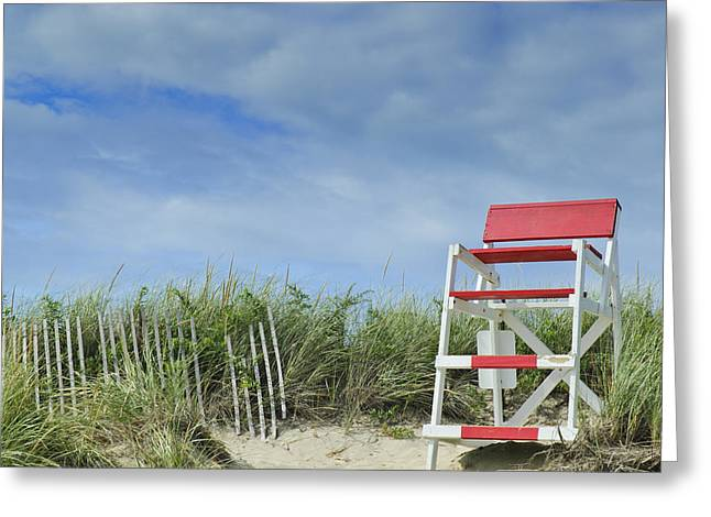 Empty Chairs Greeting Cards - Summer in Red White and Blue Greeting Card by Marianne Campolongo