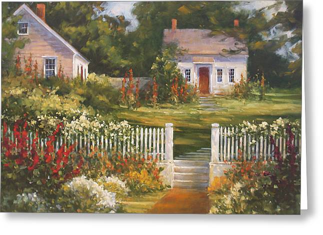 New England Ocean Greeting Cards - Summer in the Village Greeting Card by Barbara Applegate