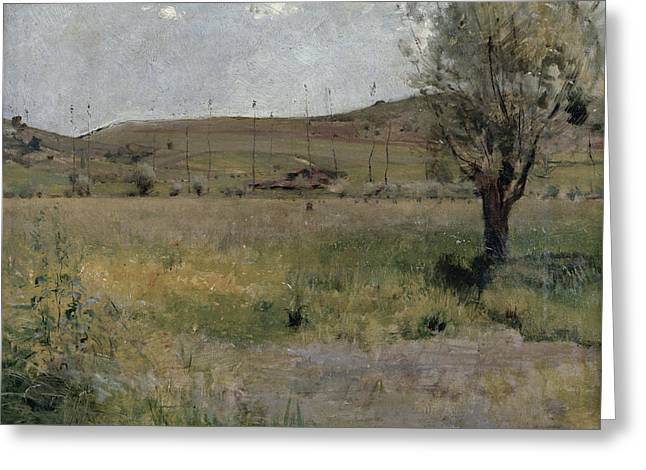 Summer Season Landscapes Greeting Cards - Summer landscape Greeting Card by Jules Bastien-Lepage