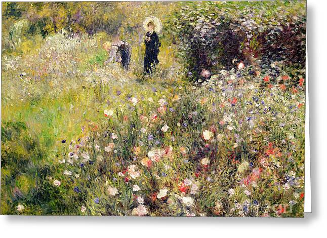 Picking Flowers Greeting Cards - Summer Landscape Greeting Card by Pierre Auguste Renoir