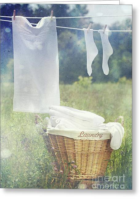Pegs Greeting Cards - Summer laundry drying on clothesline Greeting Card by Sandra Cunningham