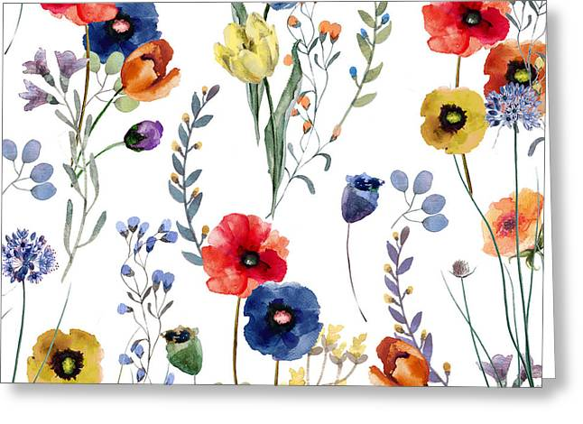 Painted Flowers Greeting Cards - Summer Linen Greeting Card by Mindy Sommers