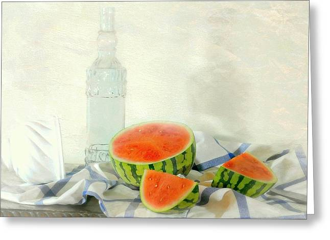 Still Life With Bottle Greeting Cards - Summer Melon Greeting Card by Diana Angstadt