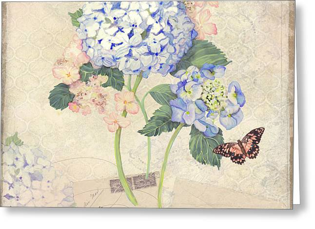 Flower Blossom Mixed Media Greeting Cards - Summer Memories - Blue Hydrangea n Butterflies Greeting Card by Audrey Jeanne Roberts