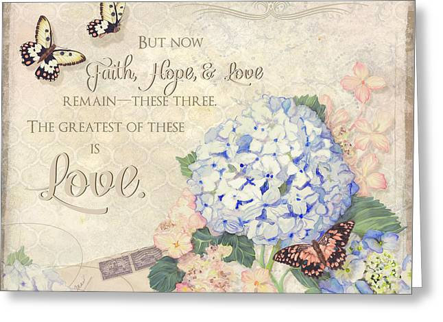 Blooms Mixed Media Greeting Cards - Summer Memories - Blue Hydrangea n Butterflies Faith Hope and Love Greeting Card by Audrey Jeanne Roberts
