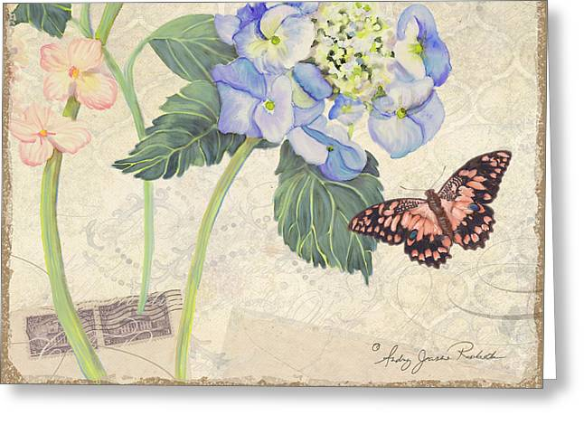 Blooms Mixed Media Greeting Cards - Summer Memories - Blue Hydrangea n Butterfly Greeting Card by Audrey Jeanne Roberts