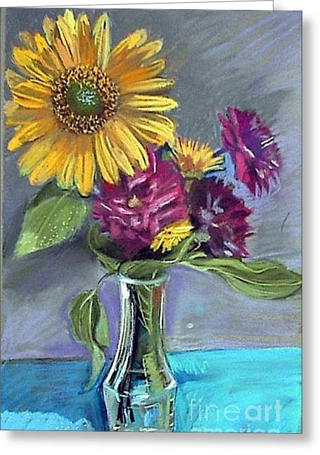 Sunflowers Pastels Greeting Cards - Summer Memories Greeting Card by Deb Putnam