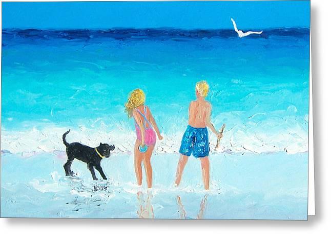 Kids Playing At Beach Greeting Cards - Summer Memories Greeting Card by Jan Matson
