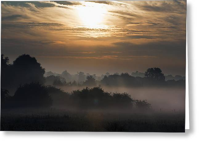 Emergence Greeting Cards - Summer Morning With Fog On A Kent Farm Greeting Card by Doug McKinlay