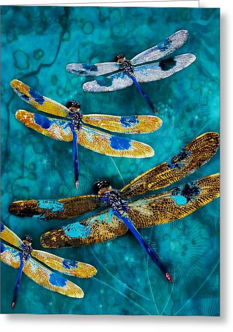 Blue Abstracts Greeting Cards - Summer Night Dragon Dance Greeting Card by Barbara Chichester