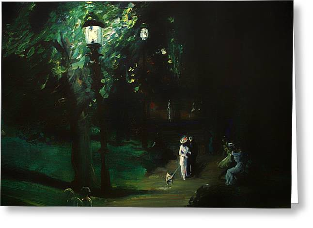 Gaslight Greeting Cards - Summer Night - Riverside Drive Greeting Card by George Wesley Bellows