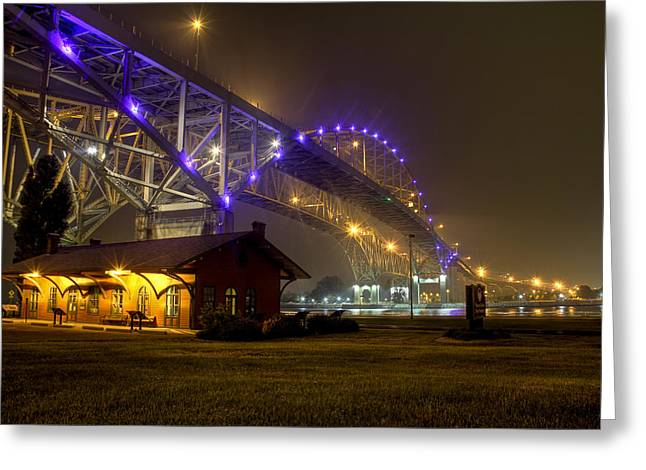 Edison Greeting Cards - Summer Night Under the Blue Water Bridges Greeting Card by Scott Bert