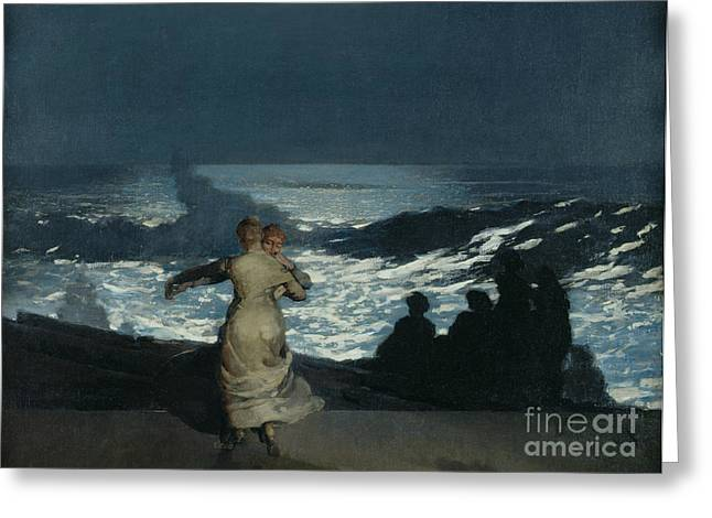 Summer Night Greeting Card by Winslow Homer