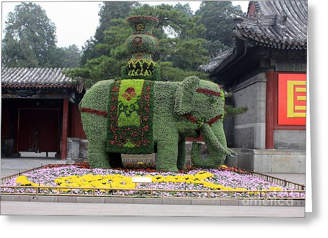 Summer Palace Greeting Cards - Summer Palace Elephant Greeting Card by Carol Groenen