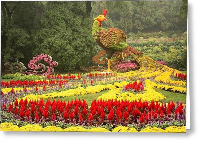 Summer Palace Greeting Cards - Summer Palace Flower Phoenix Greeting Card by Carol Groenen