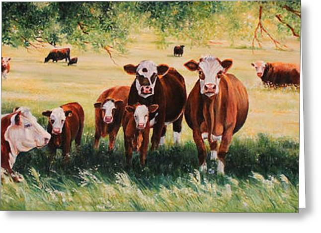 Hereford Greeting Cards - Summer Pastures Greeting Card by Toni Grote