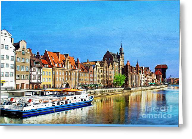Boats In Reflecting Water Greeting Cards - Summer Reflections in Gdansk Poland Greeting Card by Laura D Young