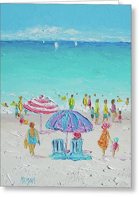 Summer Scene Diptych 1 Greeting Card by Jan Matson