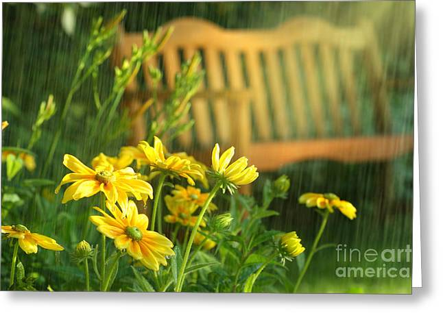 Droplet Digital Art Greeting Cards - Summer showers Greeting Card by Sandra Cunningham