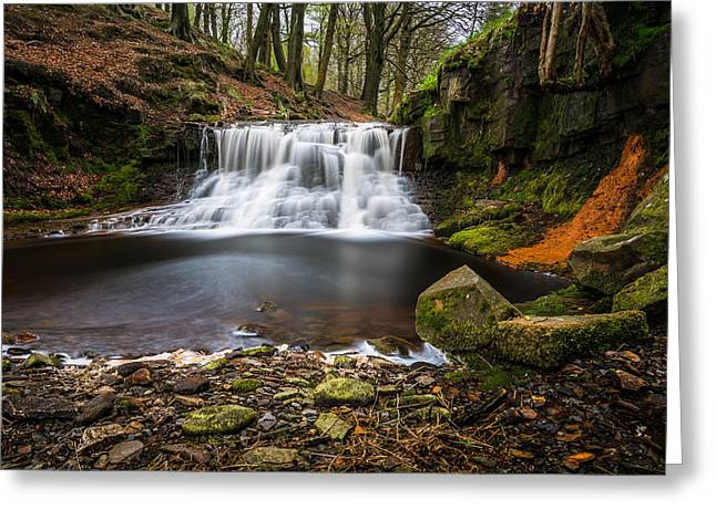 Photography Greeting Cards - Summer Silky Flowing Waterfall In The Lancashire Woodland. Greeting Card by Daniel Kay