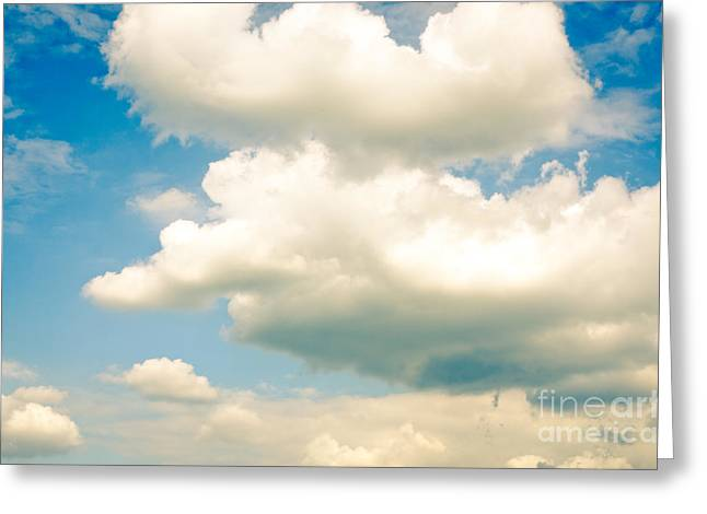 Cumulus Nimbus Greeting Cards - SUMMER SKY blue sky white clouds Greeting Card by Andy Smy