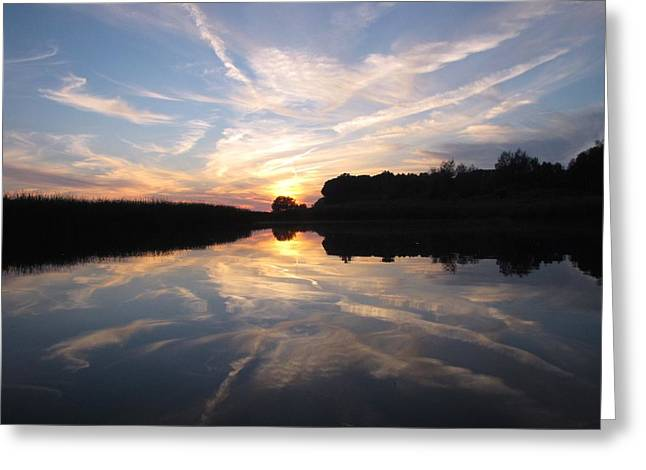 Reflections Of Sky In Water Greeting Cards - Summer Solstice Sunset Greeting Card by Jane Greiner