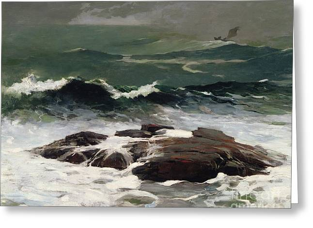 On The Beach Greeting Cards - Summer Squall Greeting Card by Winslow Homer