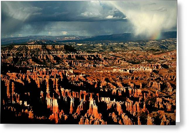 Summer Storm Greeting Cards - Summer storm at Bryce Canyon National Park Greeting Card by Jetson Nguyen