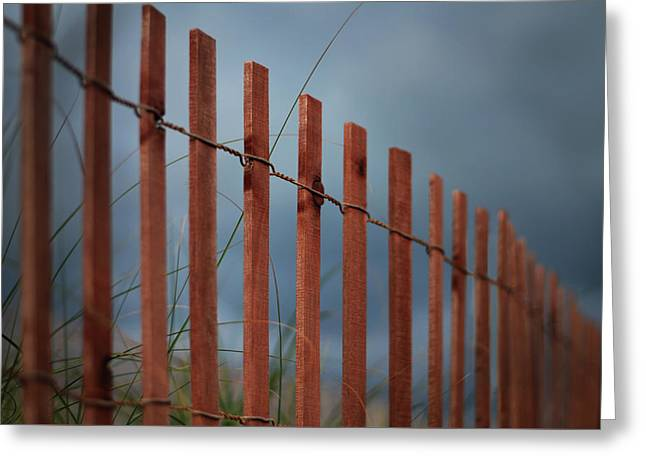 Summer Storm Beach Fence Greeting Card by Laura Fasulo
