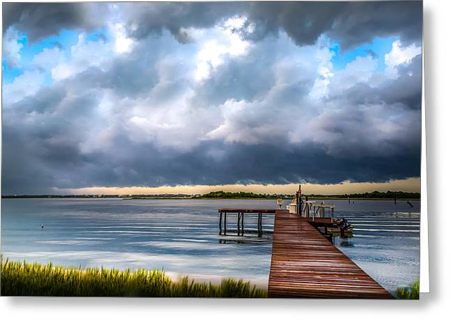 Summer Storm Blues Greeting Card by Karen Wiles