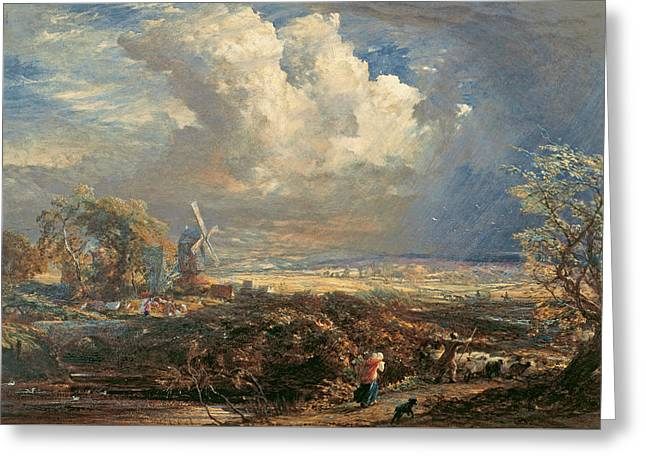 Summer Storm Near Pulborough, Sussex Greeting Card by Samuel Palmer
